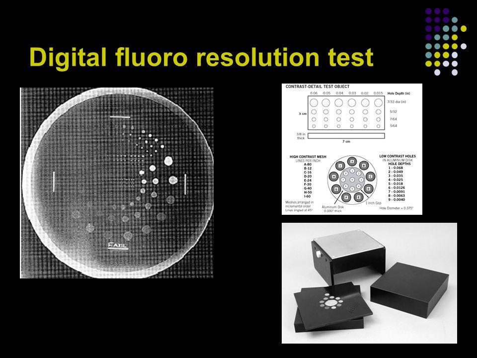 Digital fluoro resolution test