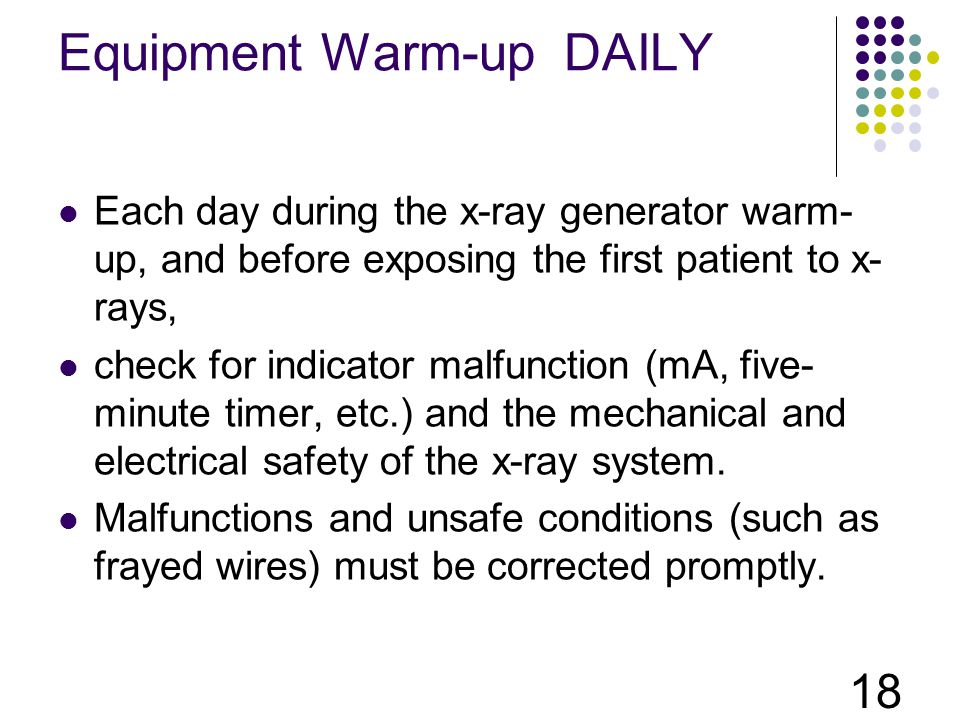 Equipment Warm-up DAILY