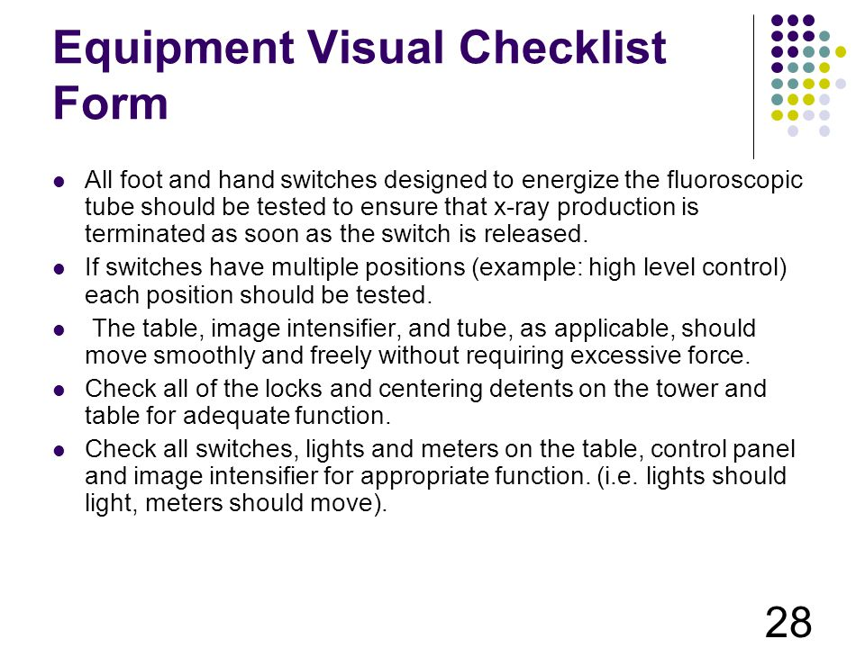 Equipment Visual Checklist Form