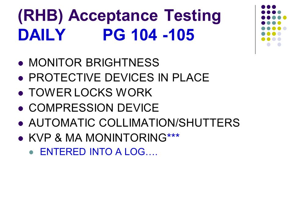 (RHB) Acceptance Testing DAILY PG 104 -105