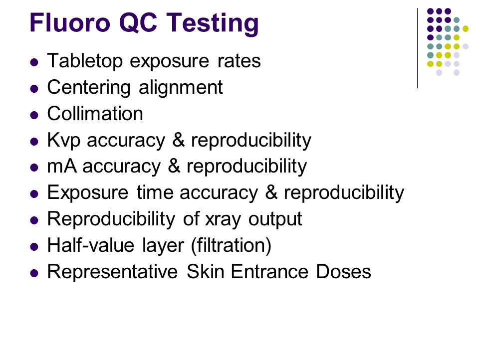 Fluoro QC Testing Tabletop exposure rates Centering alignment