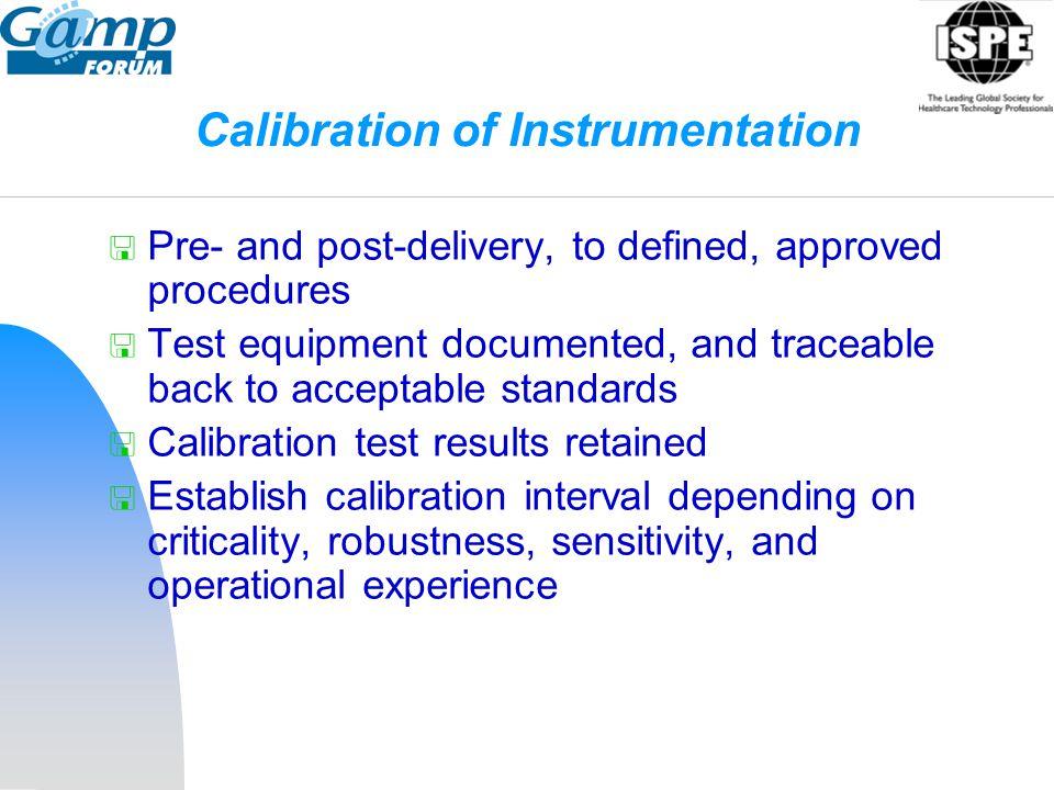 Calibration of Instrumentation