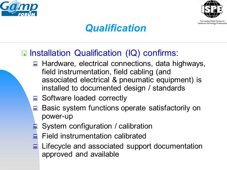 Qualification Installation Qualification (IQ) confirms: