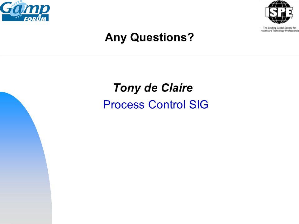 Any Questions Tony de Claire Process Control SIG