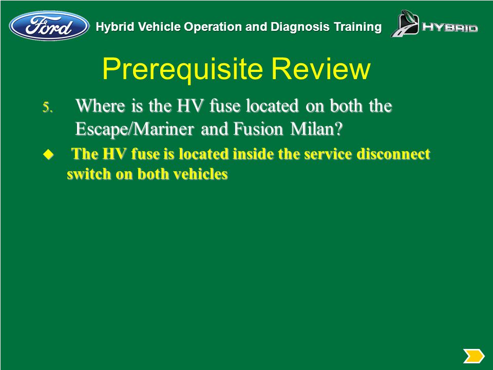 Prerequisite Review Where is the HV fuse located on both the Escape/Mariner and Fusion Milan