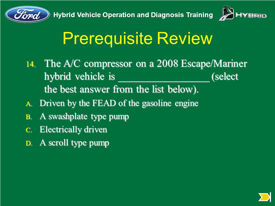 Prerequisite Review The A/C compressor on a 2008 Escape/Mariner hybrid vehicle is _________________ (select the best answer from the list below).