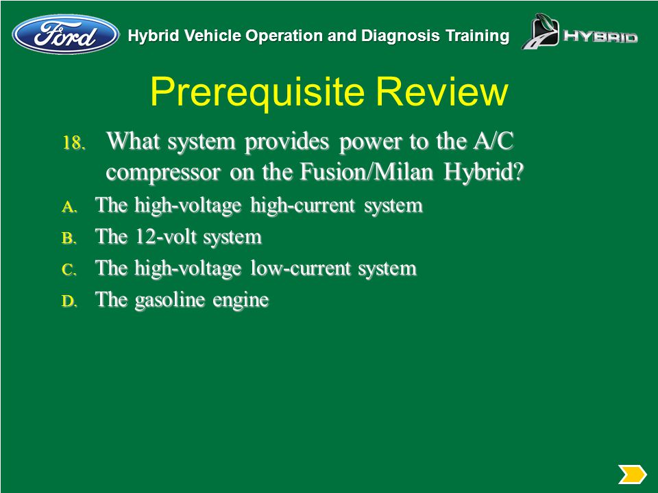 Prerequisite Review What system provides power to the A/C compressor on the Fusion/Milan Hybrid The high-voltage high-current system.