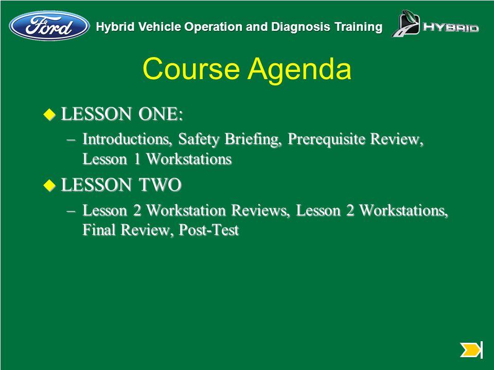 Course Agenda LESSON ONE: LESSON TWO