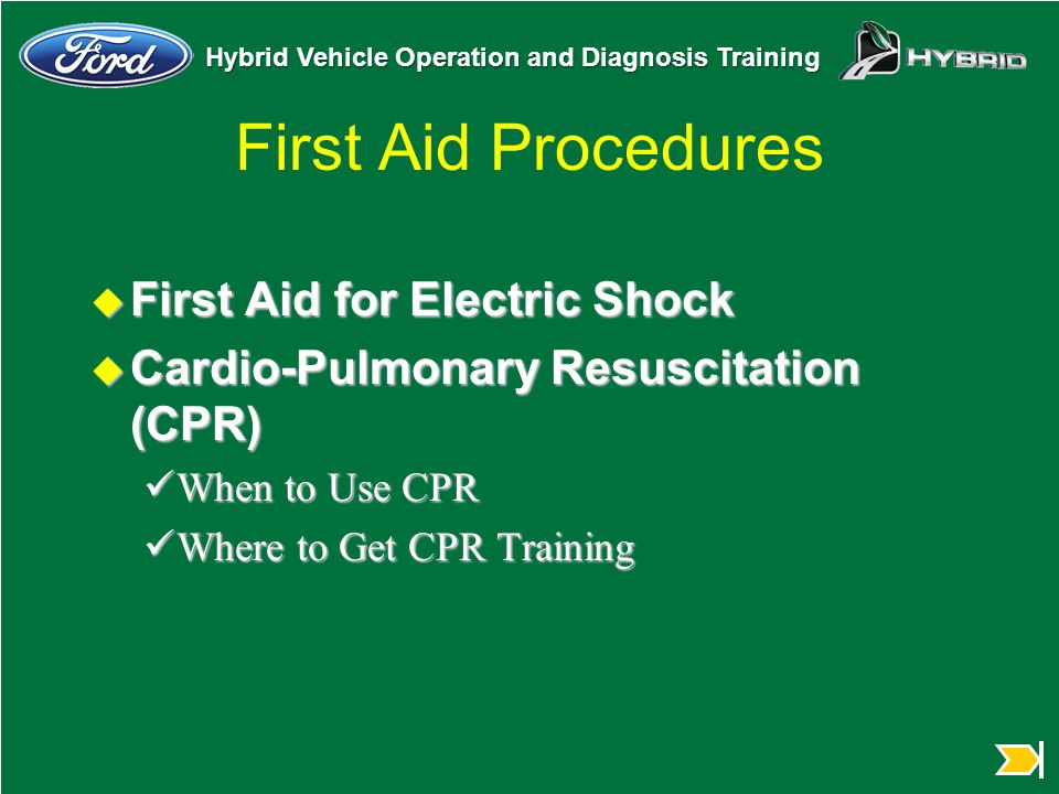 First Aid Procedures First Aid for Electric Shock