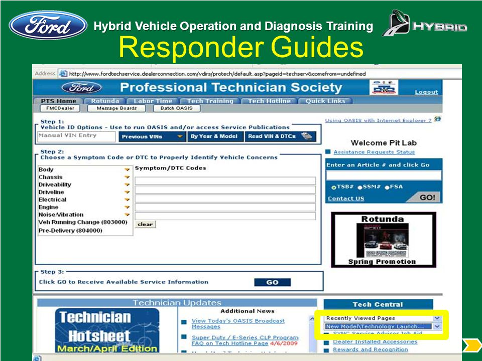 Responder Guides From Tech Central select New Model/Technology Menu