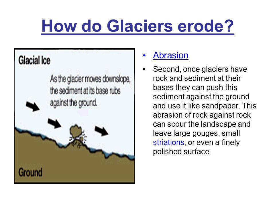 How do Glaciers erode Abrasion