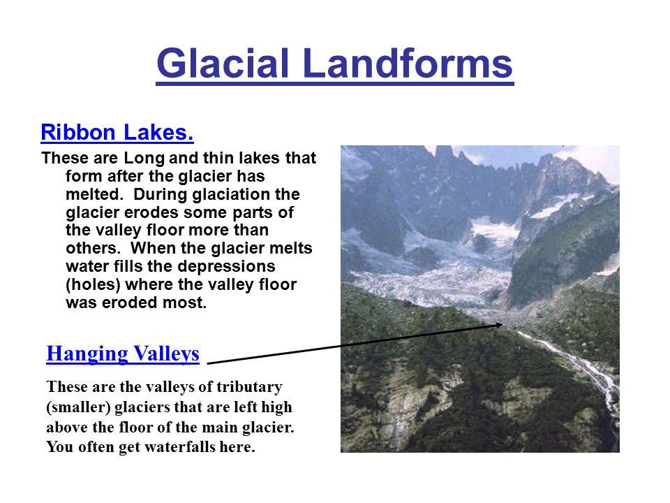 Glacial Landforms Ribbon Lakes. Hanging Valleys