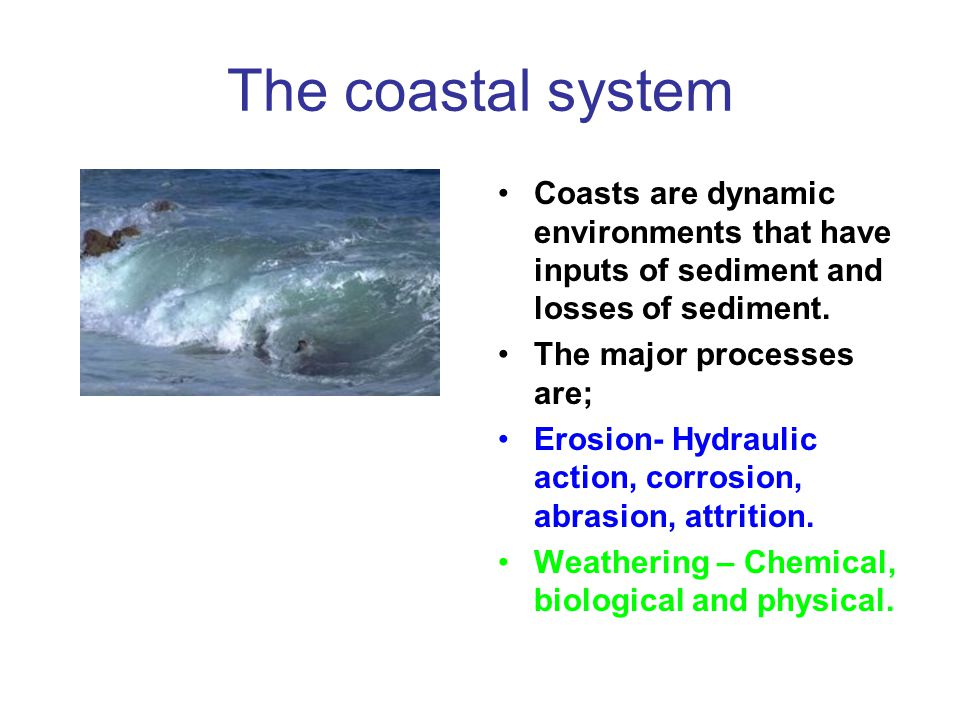 The coastal system Coasts are dynamic environments that have inputs of sediment and losses of sediment.