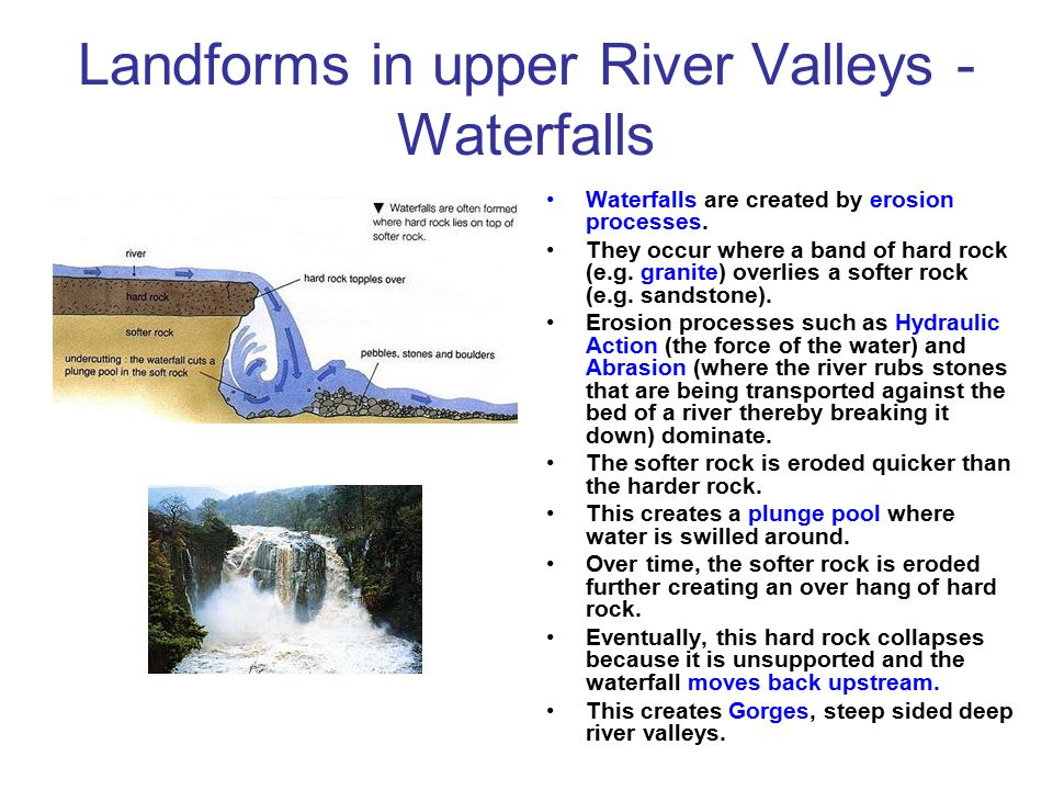 Landforms in upper River Valleys - Waterfalls