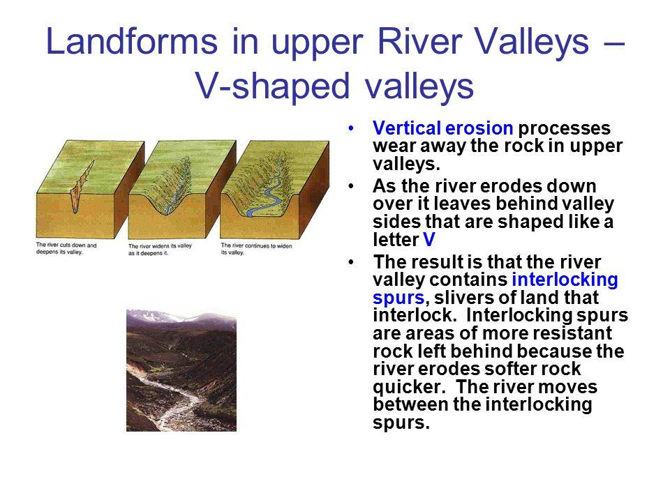 Landforms in upper River Valleys – V-shaped valleys