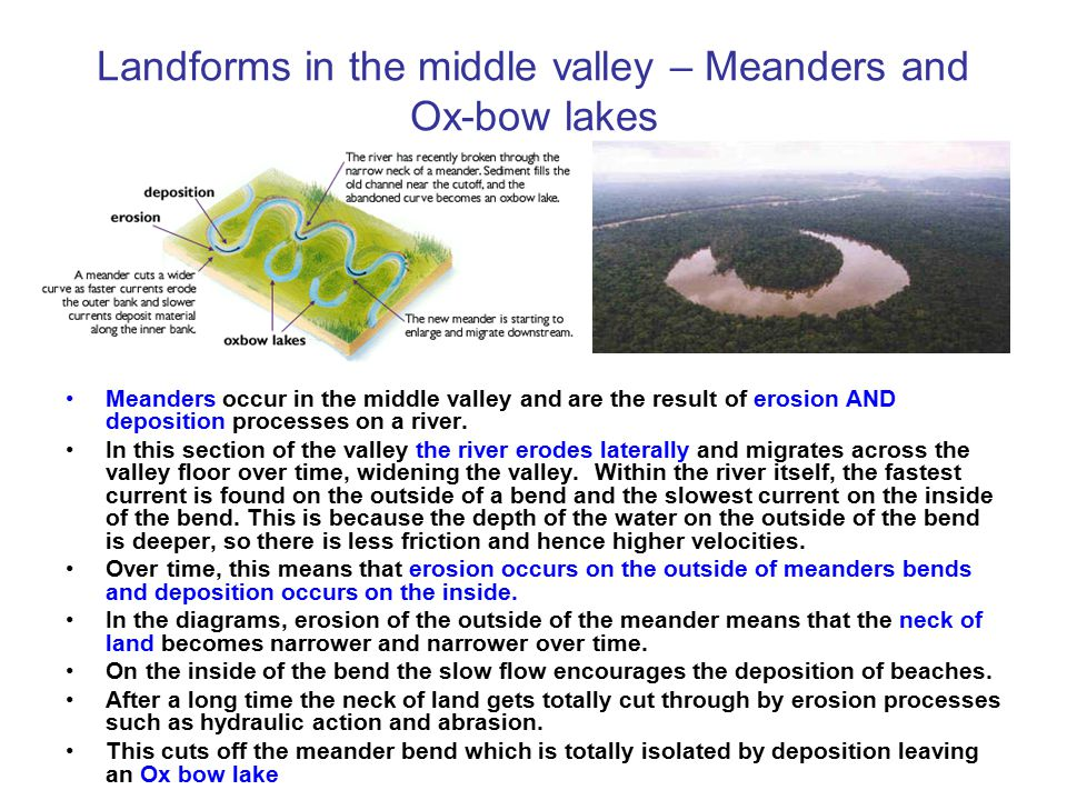 Landforms in the middle valley – Meanders and Ox-bow lakes