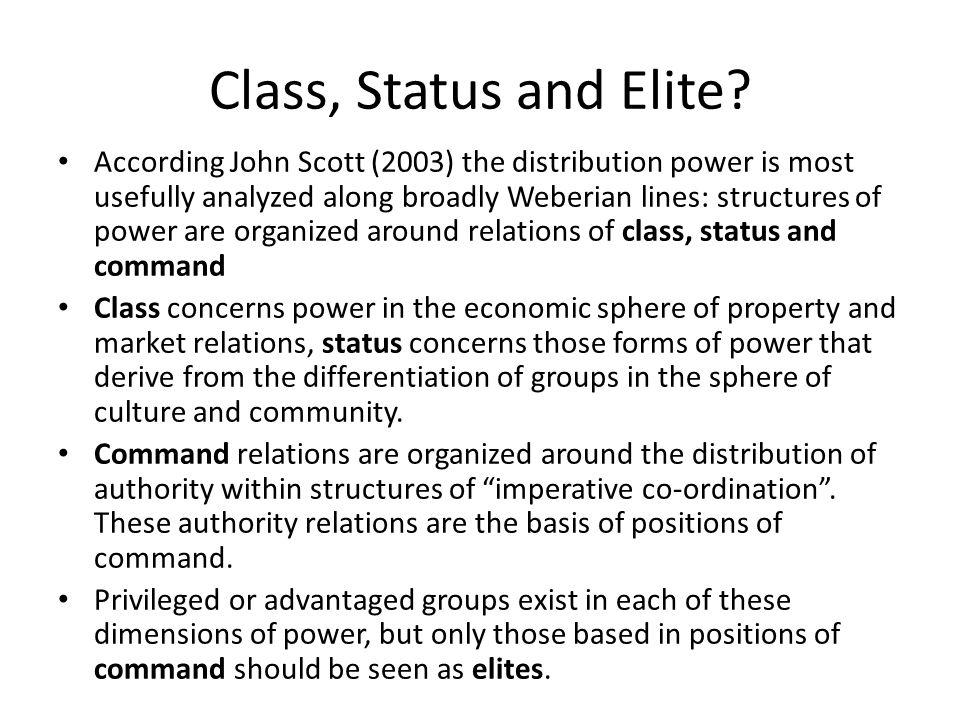 Class, Status and Elite