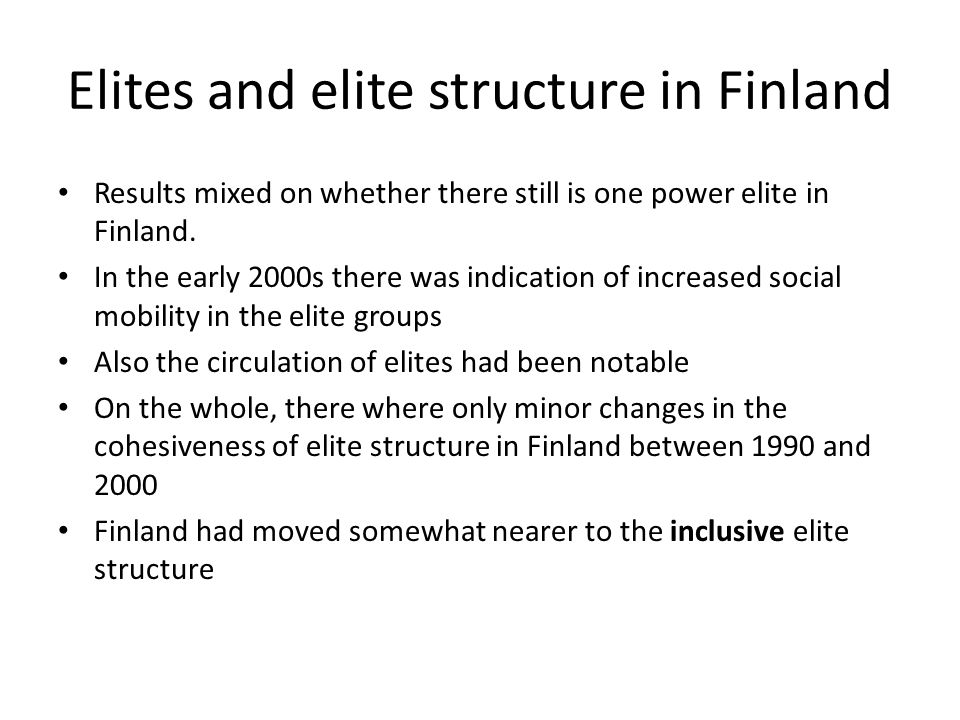 Elites and elite structure in Finland