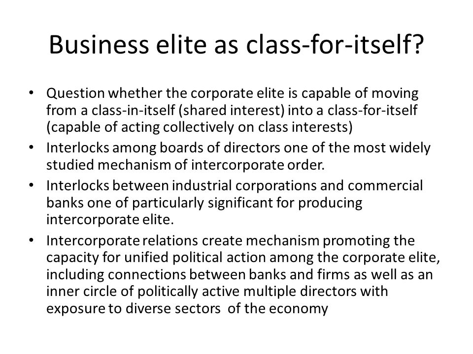 Business elite as class-for-itself