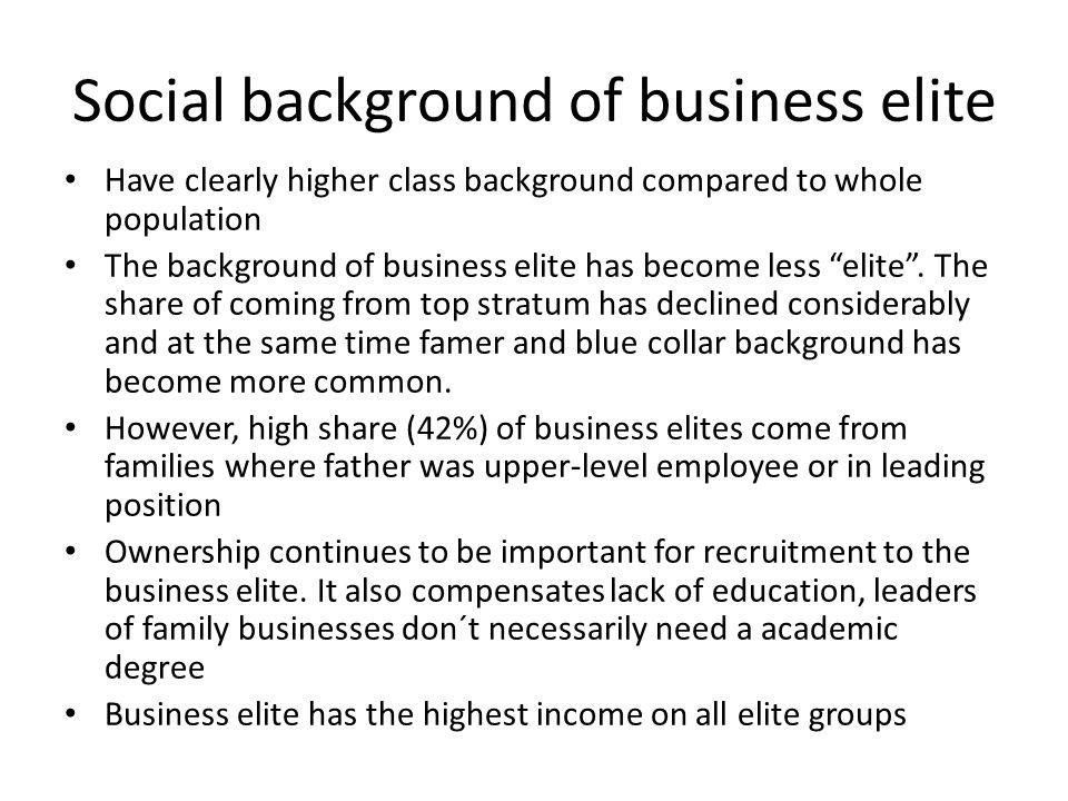 Social background of business elite