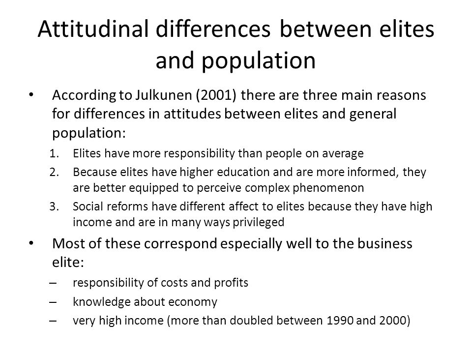 Attitudinal differences between elites and population