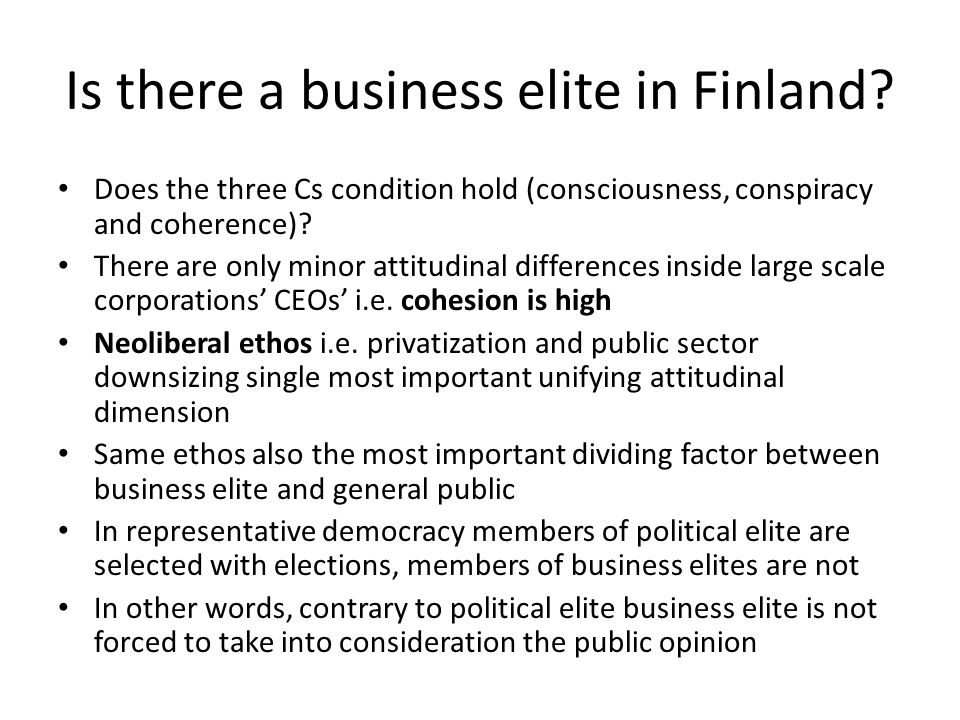 Is there a business elite in Finland