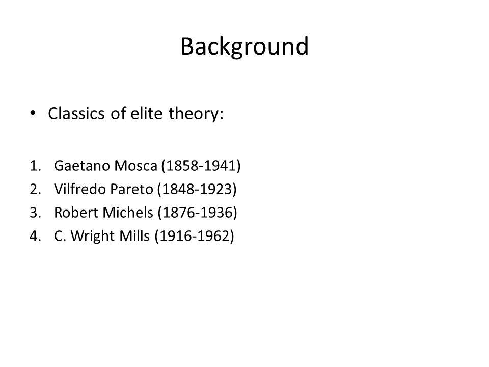 Background Classics of elite theory: Gaetano Mosca (1858-1941)