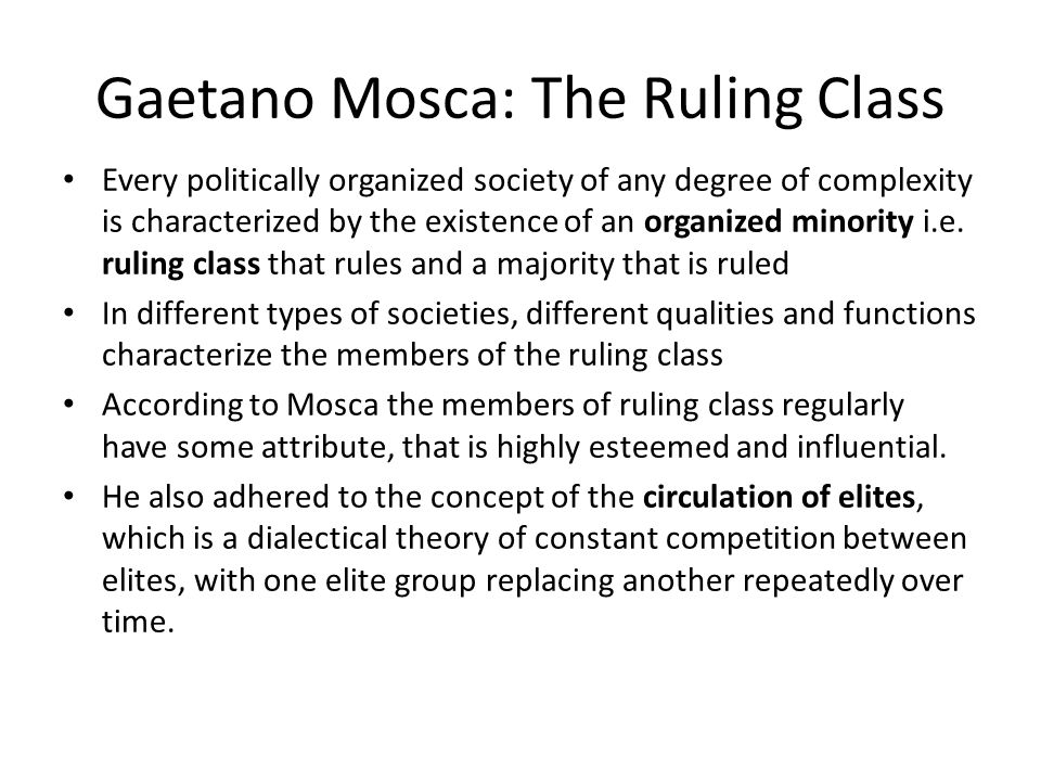 Gaetano Mosca: The Ruling Class