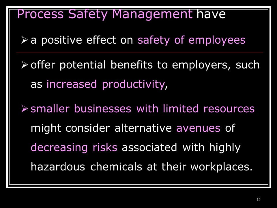 Process Safety Management have