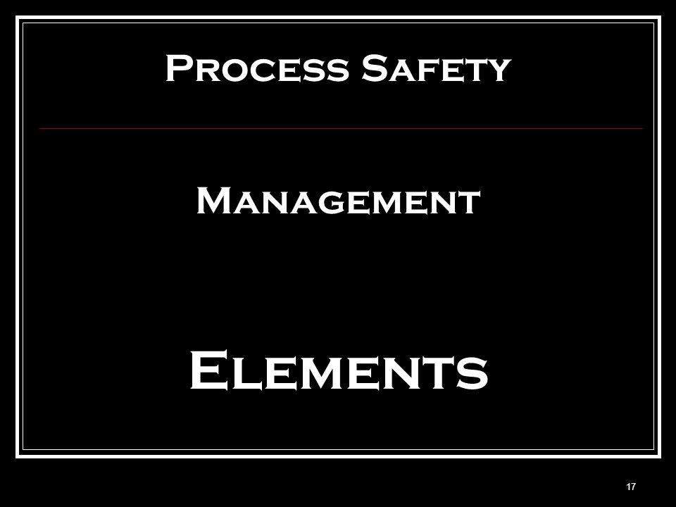 CCPS Process Safety Management Elements