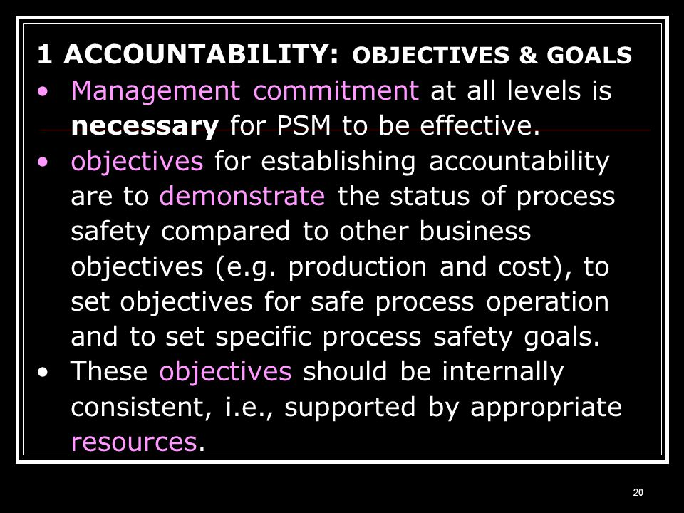 1 ACCOUNTABILITY: OBJECTIVES & GOALS