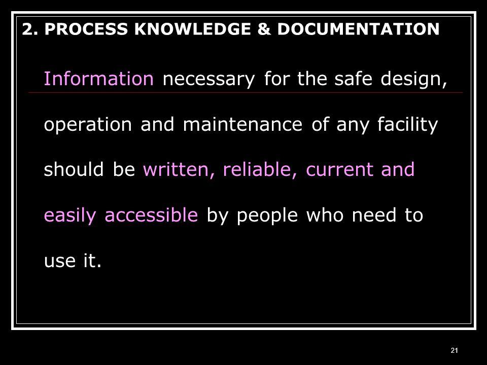 2. PROCESS KNOWLEDGE & DOCUMENTATION