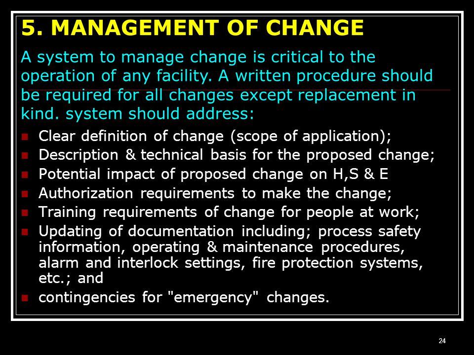 5. MANAGEMENT OF CHANGE