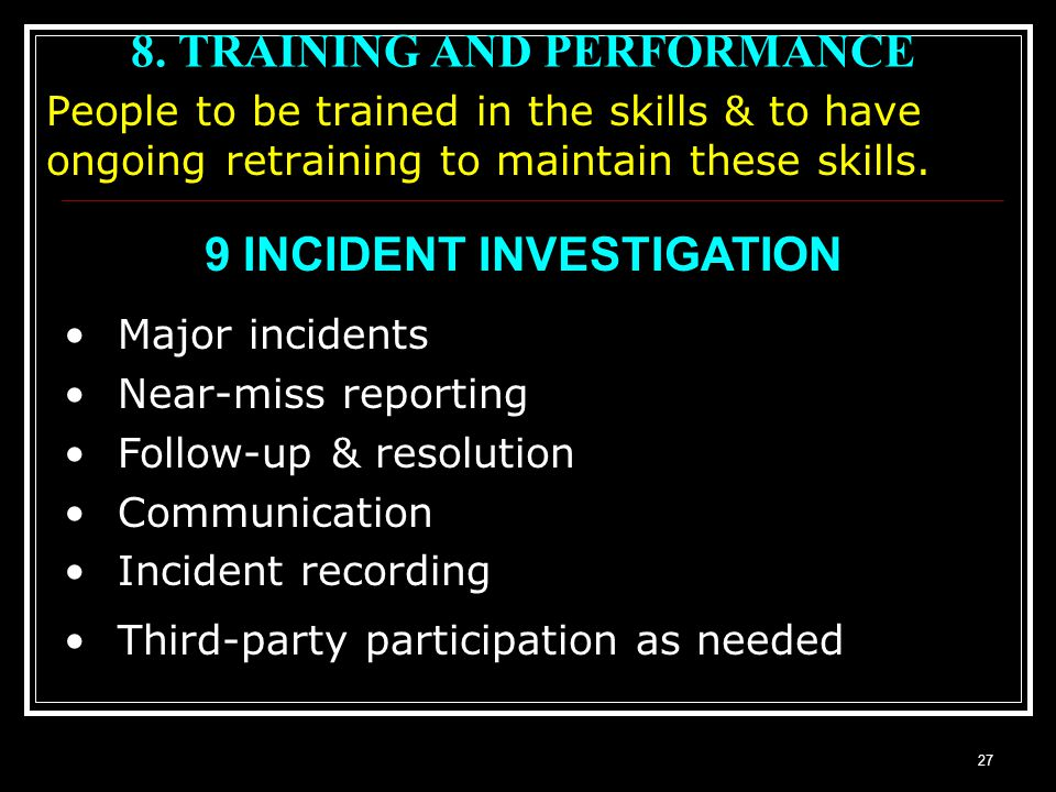 8. TRAINING AND PERFORMANCE
