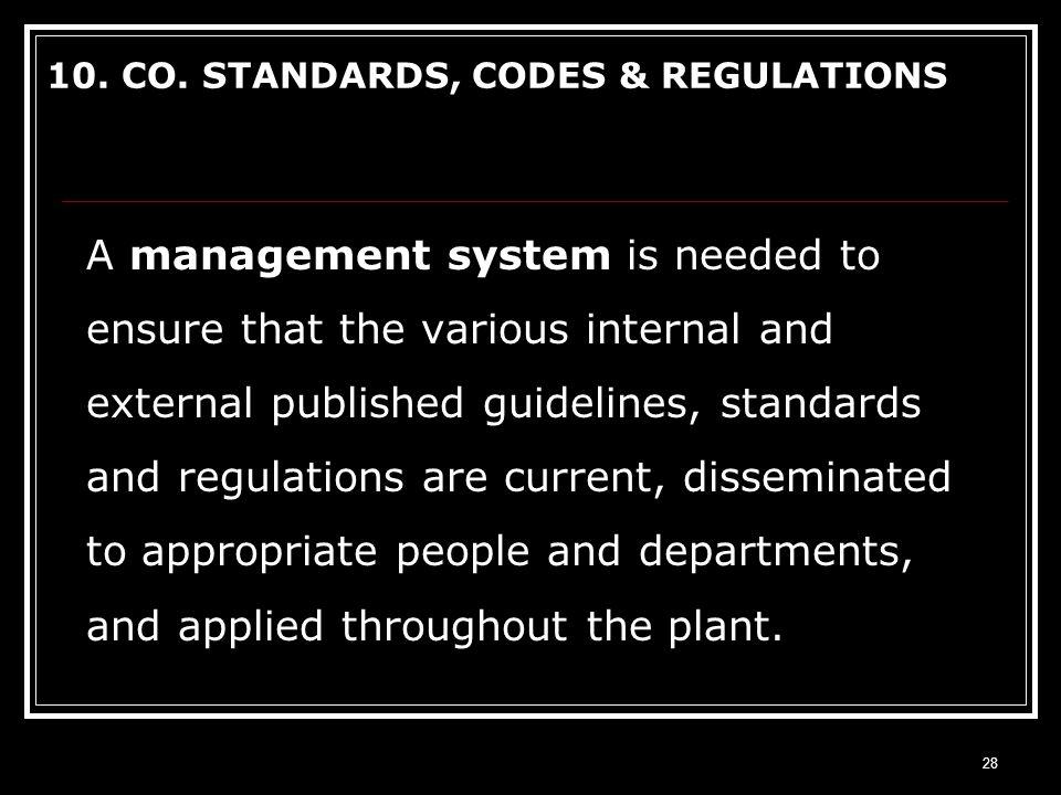 10. CO. STANDARDS, CODES & REGULATIONS