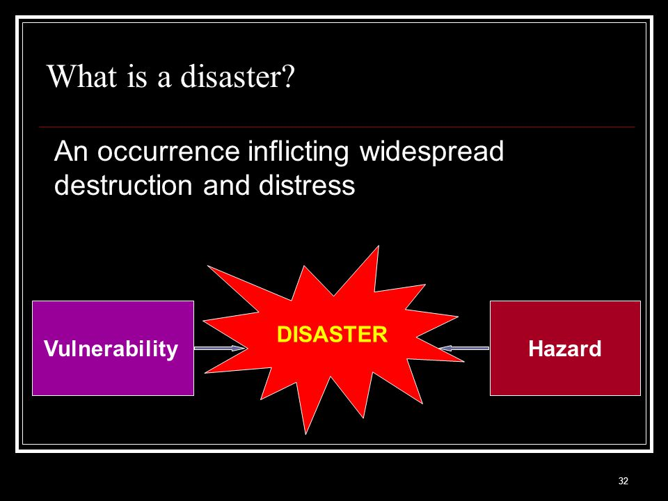 What is a disaster An occurrence inflicting widespread destruction and distress. DISASTER. Vulnerability.