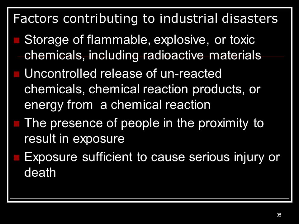 Factors contributing to industrial disasters