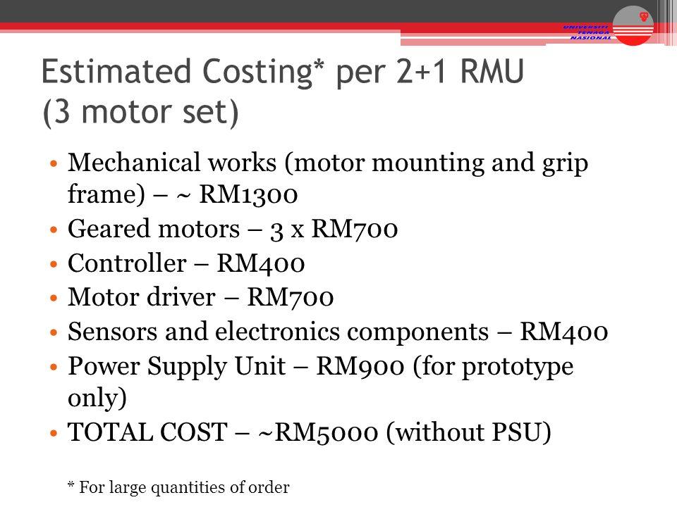 Estimated Costing* per 2+1 RMU (3 motor set)
