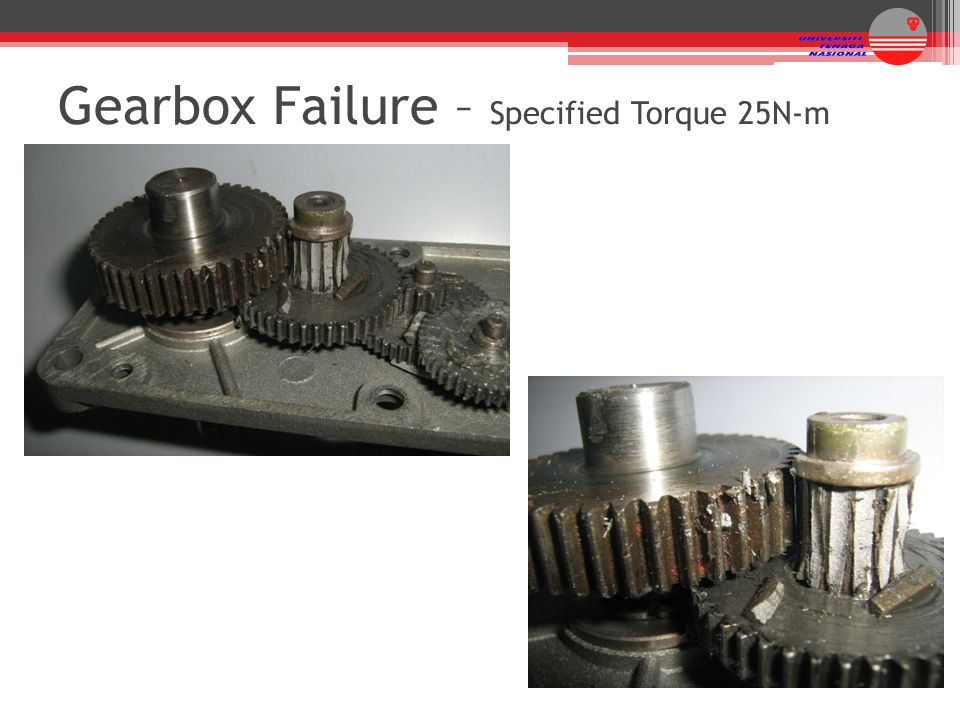Gearbox Failure – Specified Torque 25N-m