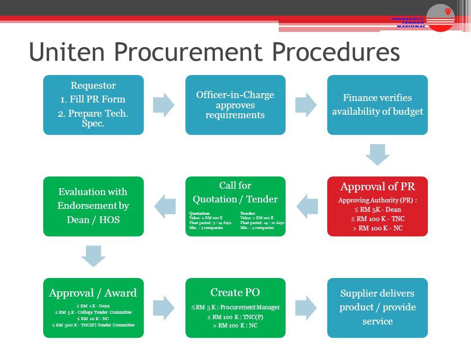 Uniten Procurement Procedures
