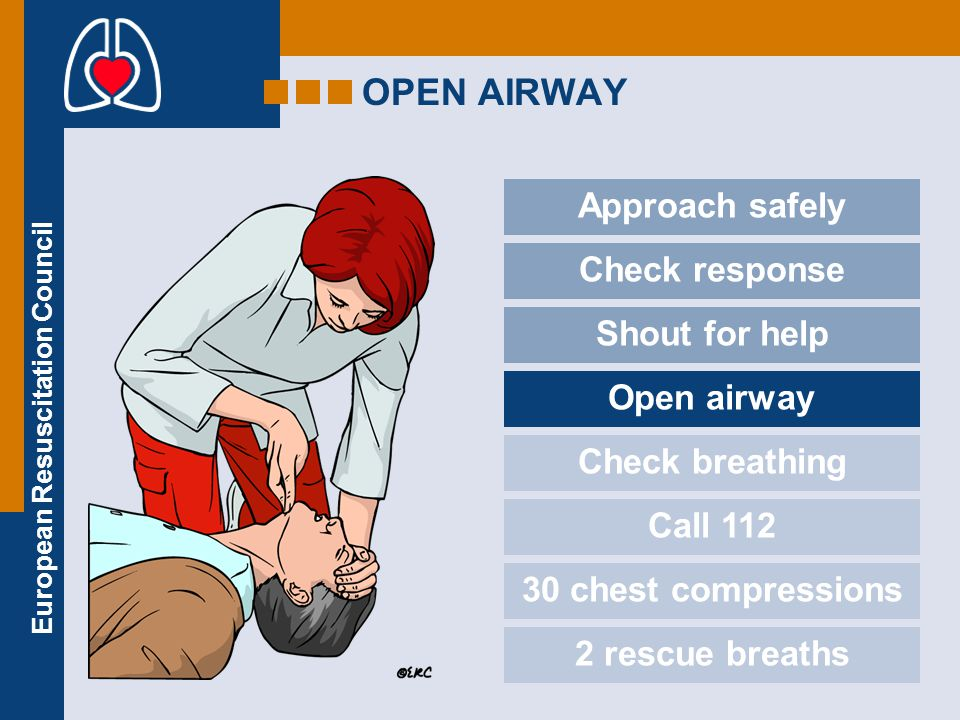 OPEN AIRWAY Approach safely Check response Shout for help Open airway