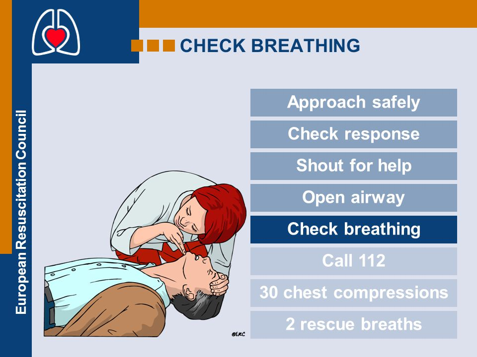 CHECK BREATHING Approach safely Check response Shout for help
