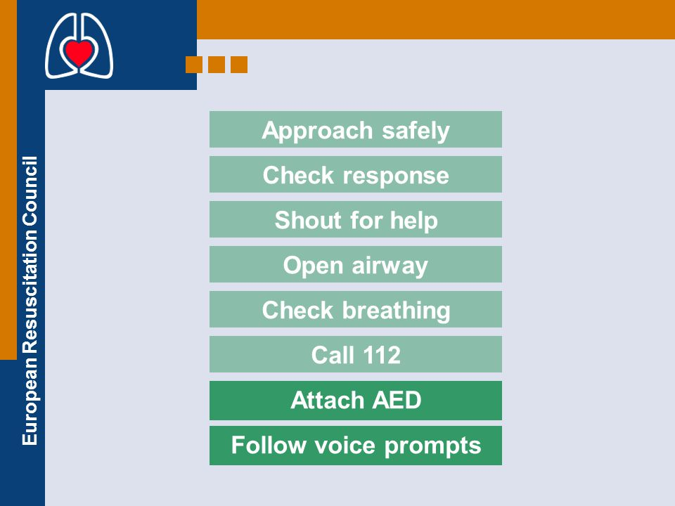 Approach safely Check response. Shout for help. Open airway. Check breathing. Call 112. Attach AED.