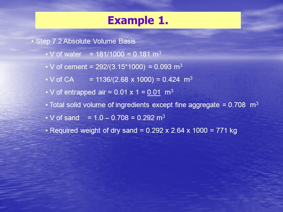 Example 1. Step 7.2 Absolute Volume Basis