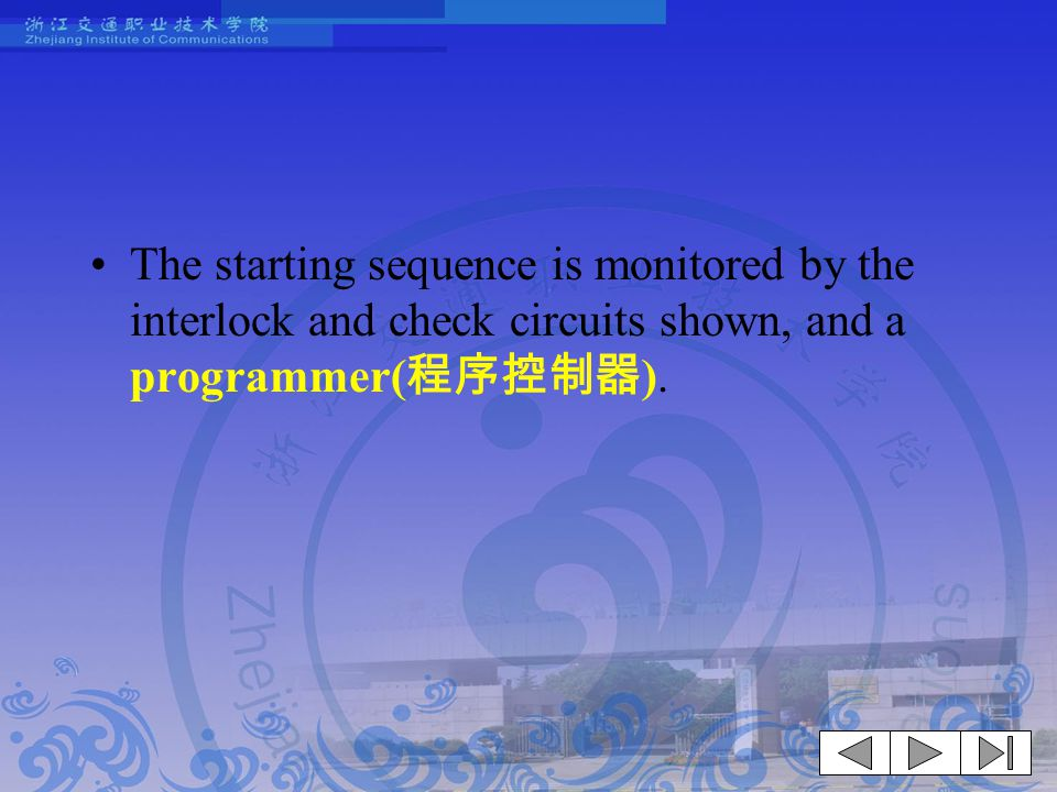 The starting sequence is monitored by the interlock and check circuits shown, and a programmer(程序控制器).