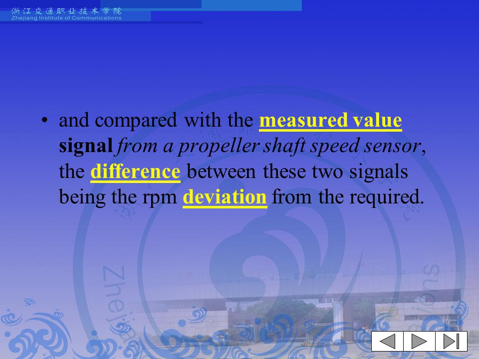 and compared with the measured value signal from a propeller shaft speed sensor, the difference between these two signals being the rpm deviation from the required.