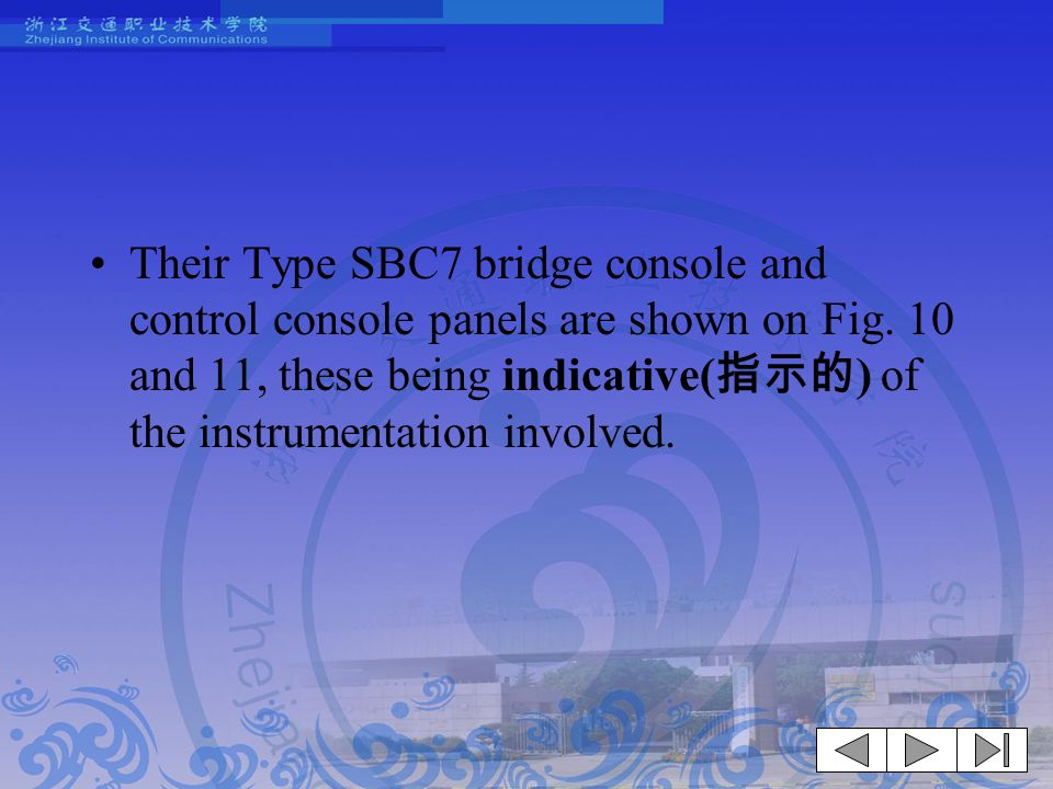 Their Type SBC7 bridge console and control console panels are shown on Fig.