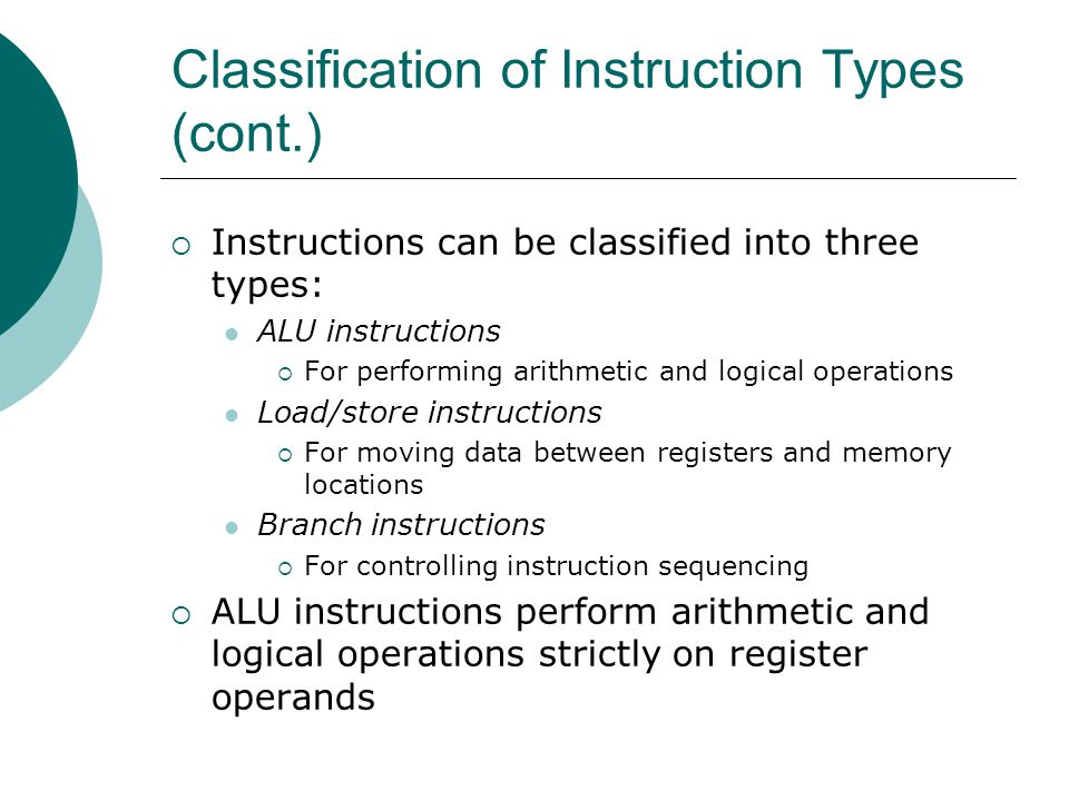 Classification of Instruction Types (cont.)