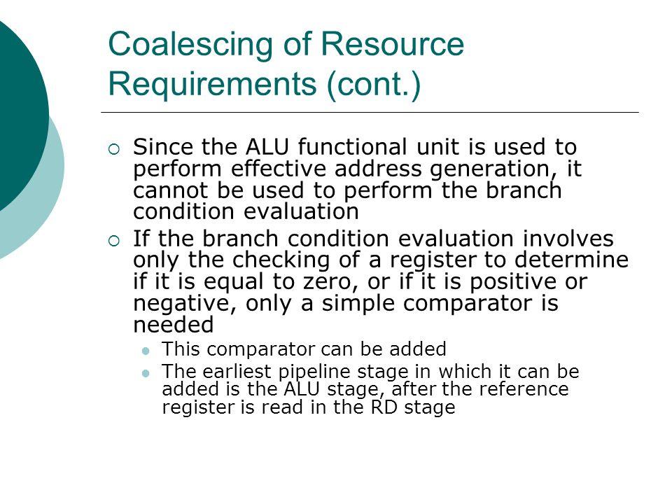 Coalescing of Resource Requirements (cont.)