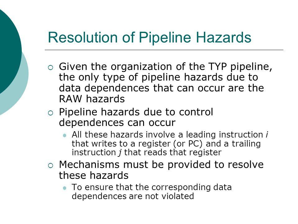 Resolution of Pipeline Hazards